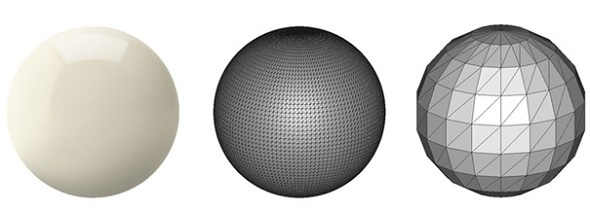 Image of different files saved for 3D printing spheres. Image shows the relation to resolution vs the smoothness of the sphere.