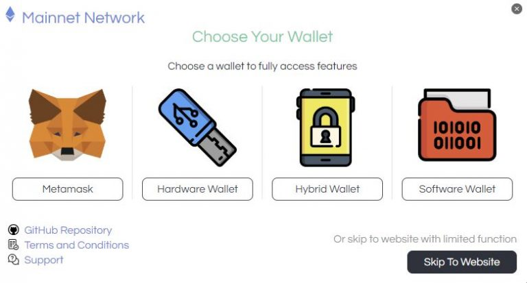 Token portal wallet selection page